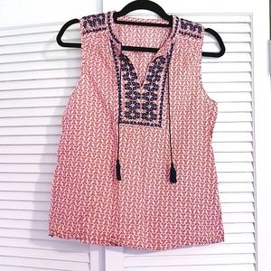 J Crew Boho Embroidered Pink Pattern Blouse Top S